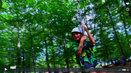 camper zip lining at camp playland