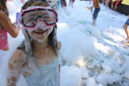 girl at foam camp party